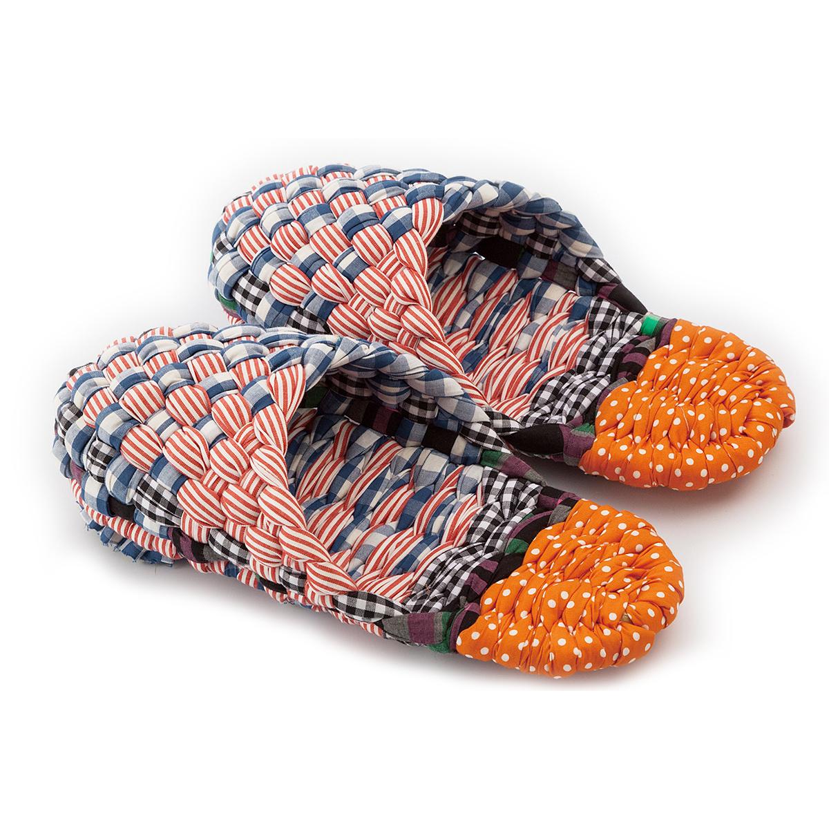 布編みスリッパ